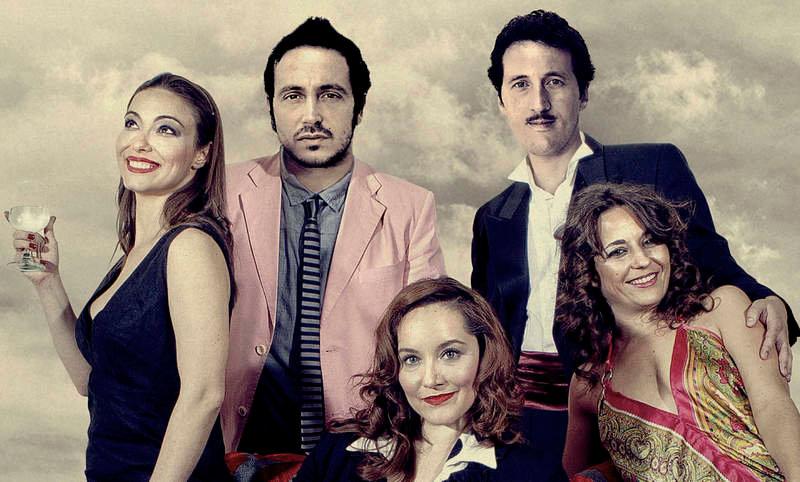 Los actores Mónica M. Burgos, Héctor Gómez, Iván Luis, Nadia Alonso y la leonesa Mayte Castillo.