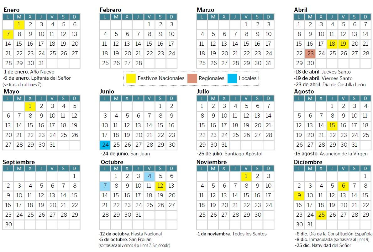 Calendario Laboral Construccion 2020.El Calendario Laboral De 2019 Contara Con Cinco Puentes En Leon